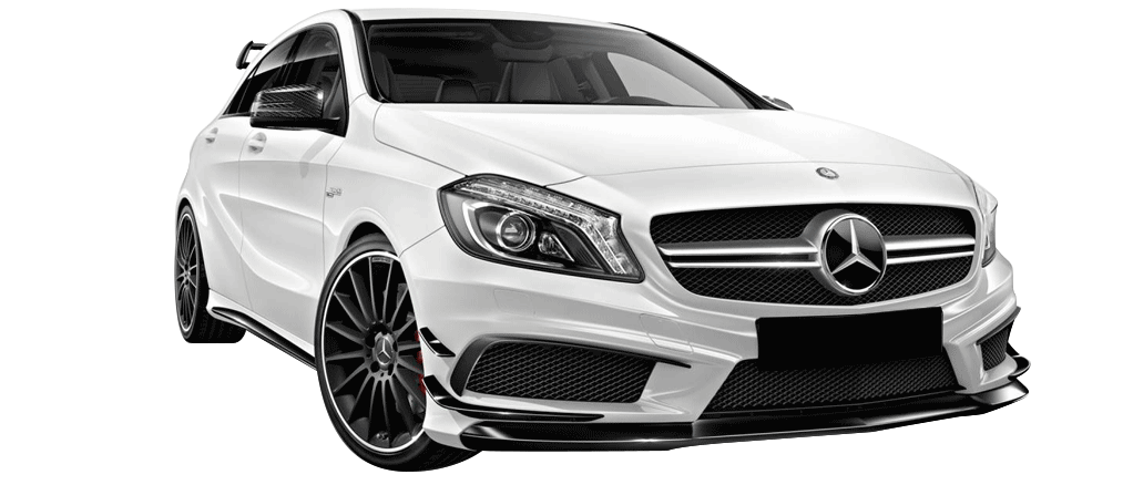 Mercedes A 45 Amg blanche vue de face disponible à la location chez GT'Luxury