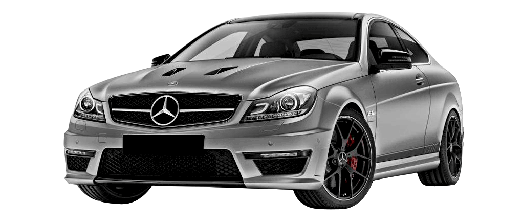 Mercedes C63 amg grise vue de face disponible à la location chez GT'Luxury