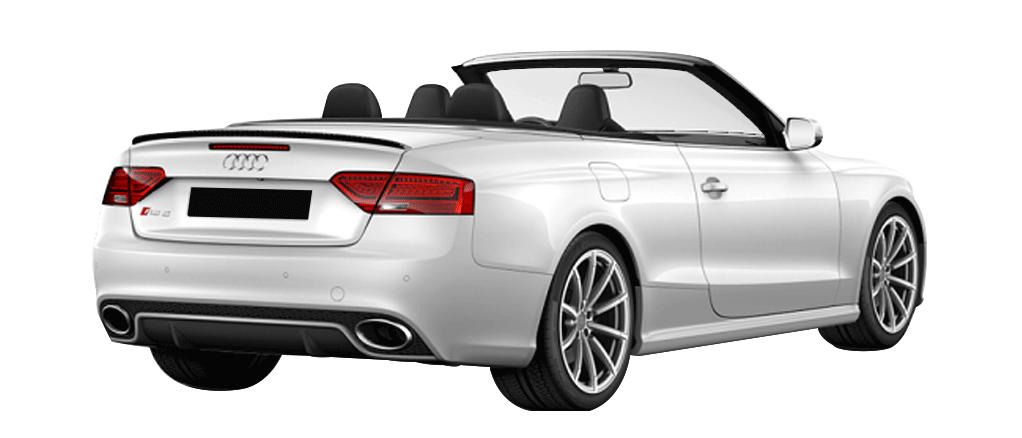 Audi RS5 blanche cabriolet vue arriere disponible à la location chez GT'Luxury