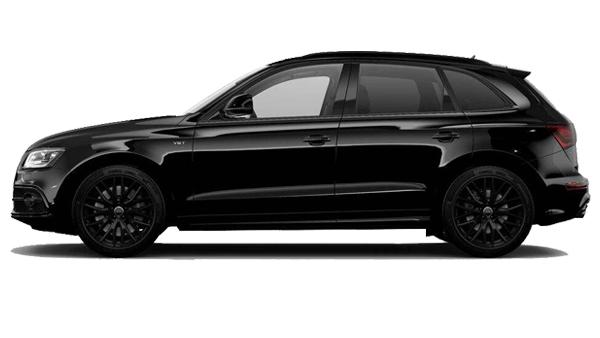 Audi SQ5 noir jantes noir de profil disponible à la location chez GT'Luxury