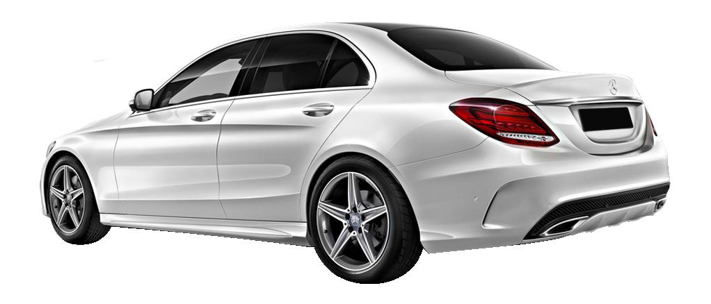 Mercedes C220 vue profil/Arriere blanche disponible à la location chez GT'Luxury