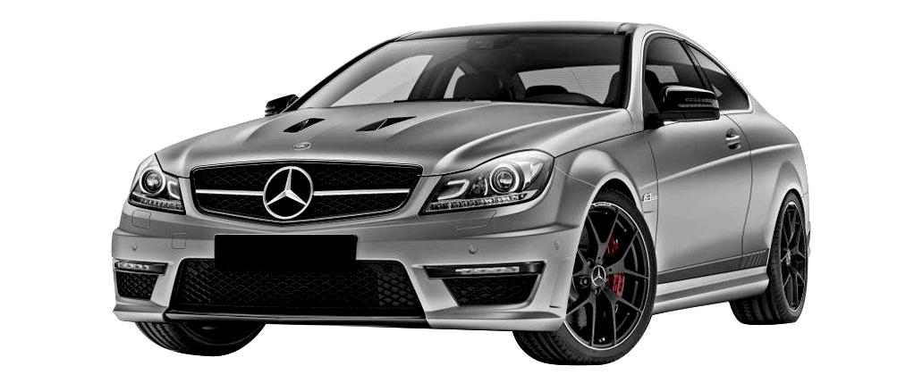 Mercedes C63 amg grise vue de face disponible à la location chez GT'Luxury