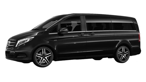 Mercedes classe v noir de profile disponible à la location chez GT'Luxury